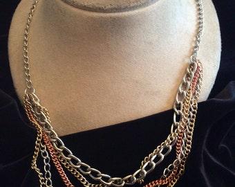 Vintage Long Tri Colored Chains Necklace