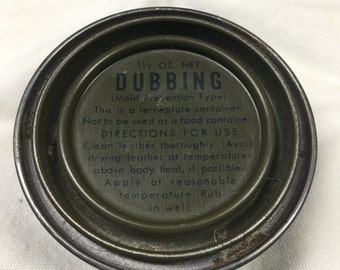 WWII Vintage 1 1/2 oz can of Dubbing for Combat boot waterproofing Vintage WWII vintage military