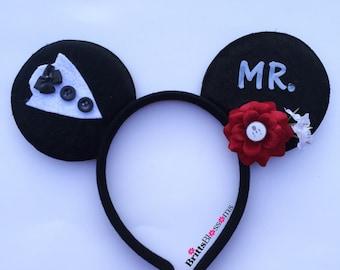 Mr Mouse Ears, Groom Mouse Ears, Wedding Mouse Ears, Mickey Mouse Ears, Disneyland, Disney World