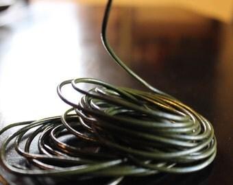 5 yards dark olive green 2 mm leather cord, 15 feet