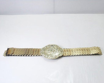 Ladies Metal Stretch Belt/ Mod 70s Ladies Fish Scale Metal Belt with Victorian Style Buckle