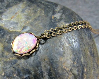 Pink Opal Necklace, Tiny Fire Opal Necklace, Harlequin Opal Necklace, Opal Pendant Necklace, Brass Pendant Necklace, Victorian Jewelry