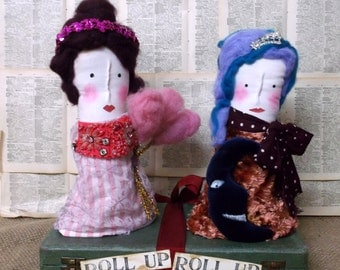 Roll Up Roll Up Circus Art Doll Sculpture, Textile Art Doll, Circus Lady Sculpture, Mixed Media Art Doll