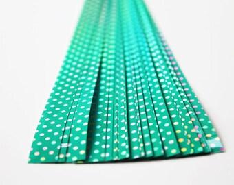 folding paper for lucky stars green polka dot - 30 paper strips for origami stars