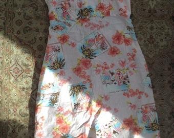 Aqua Blues Hawaiian Theme Strapless Dress