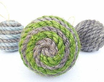 Medium Sisal Rope Decorative Ball, Ornament, Natural or Dyed Sisal, Nautical Home Decor