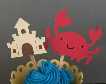 Crab and Sandcastle Cupcake Topper