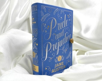 Pride and Prejudice by Jane Austen Book Clutch Purse - Blue, White, Gold