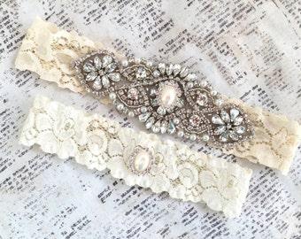 Wedding garter Pearl, rhinestone garter, rhinestone garter set, Pearl garter, Pearl wedding garter, Ivory wedding garter, lace garters