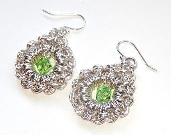Green and silver drop dangle chainmaille earrings, earrings with Swarovski crystal peridot bicones with sterling silver earring wires, gift