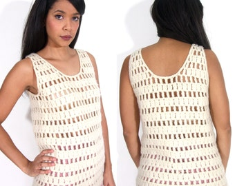 Vintage 60s 70s White Ivory Sheer Cut Out Crochet Knit Sweater Tank Top Vest Hippie