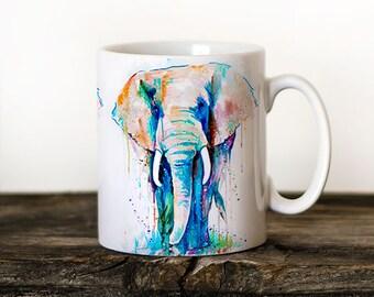 Elephant Mug Watercolor Ceramic Mug Elephant Unique Gift Coffee Mug Animal Mug Tea Cup Art Illustration Cool Kitchen Art Printed mug