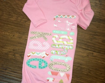 Monogrammed girl baby gown