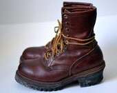 Vintage RED WING Chestnut Reddish Brown Work Boots Steel Toe Engineer Lineman Speed Hooks Calf High Size 7D ANSI Z41 PT91 M I/75 C/75