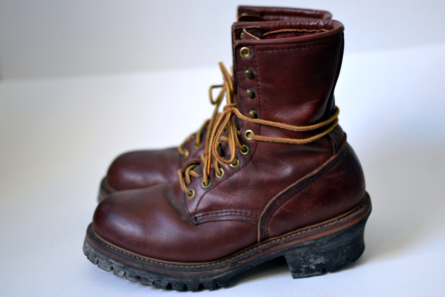 Vintage RED WING Chestnut Reddish Brown Work Boots Steel Toe