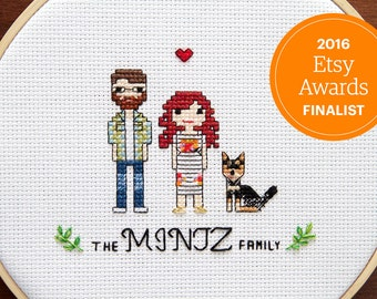 Custom Cross Stitch Couple Portrait with Pets
