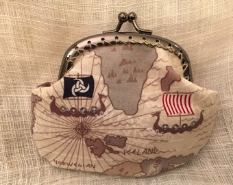 Viking Ships Coin purse with kiss clasp