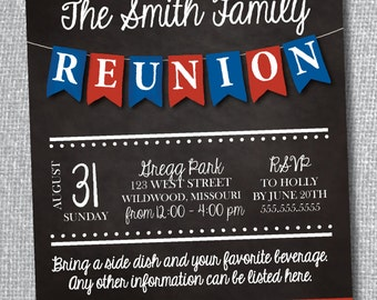 Family Reunion Invitation-Digital File-Custom Colors