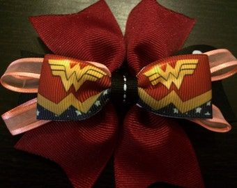 Wonder Woman Maroon Hair Bow