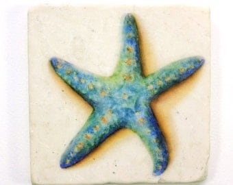 Starfish Absorbent Tumbled Stone Coaster Original Watercolor Sea Life