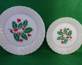Vintage Pair of Holly and Berry Milk Glass Holiday Dishes