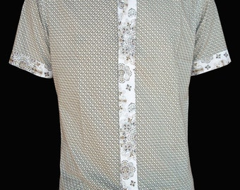 Men's shirt - short sleeves-Cotton-Peas in bloom