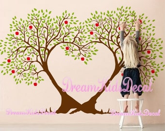 cherry blossom wall decal, Kids Nursery wall decals, Tree wall decal, baby room decal-Apple heart Tree-DK209