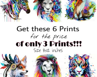 6 Animal Art Prints for the price of 3!!!