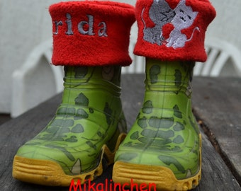 rubber boots socks red