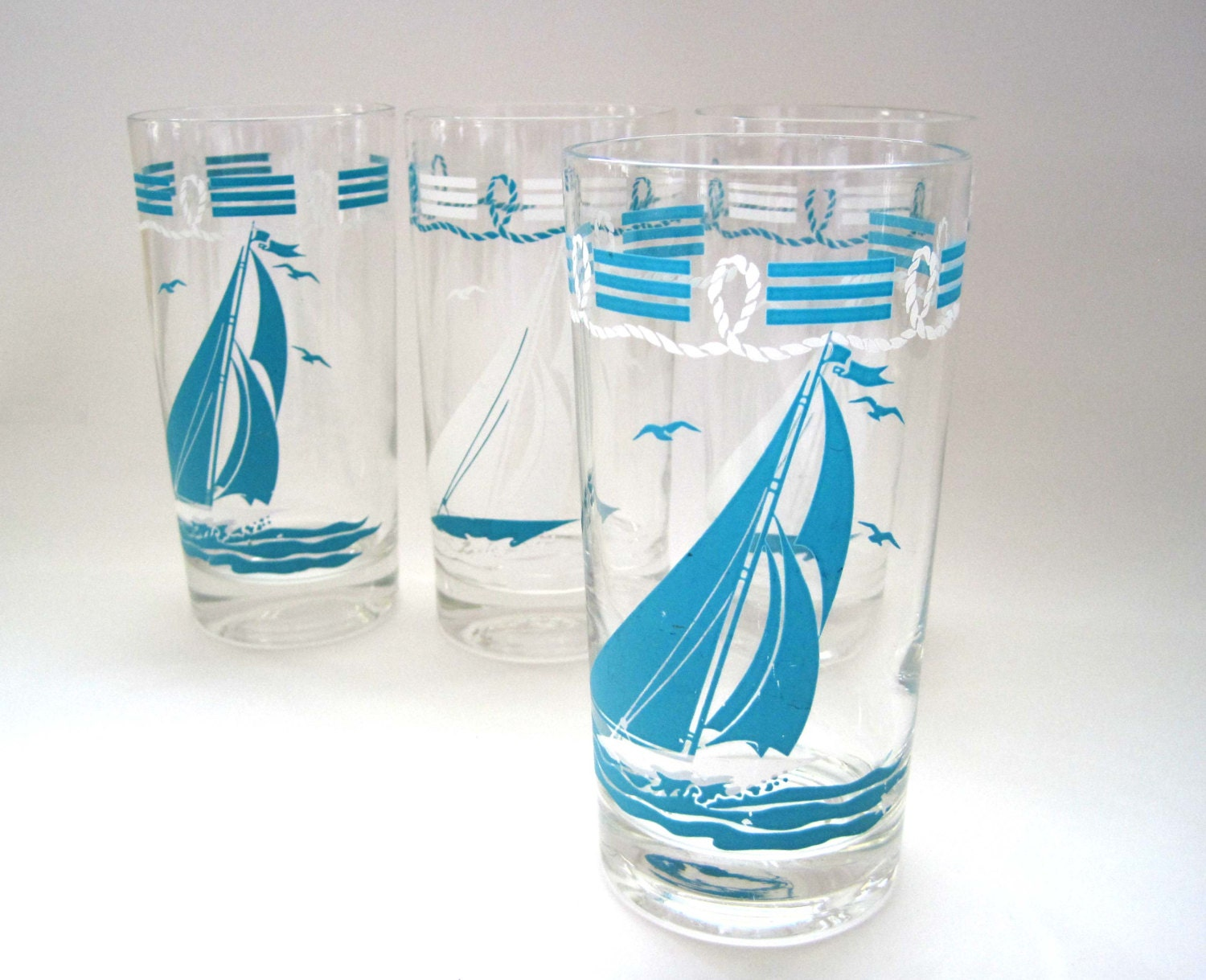 Vintage Sailboat Glasses Aqua Blue Yachting Cocktail Drink