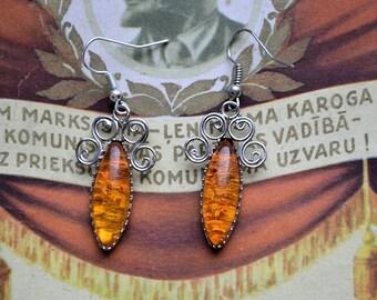 Amber earrings//Baltic amber//Handmade//USSR time//Woman's earrings//Vintage earrings//Latvian earrings//