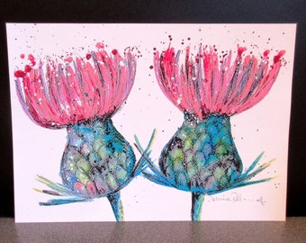 Thistles by Suzanne Patterson.Approx'  A4. Printed from one of my original paintings.X