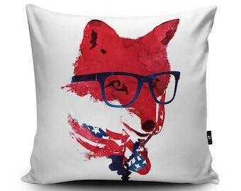 American Fox Cushion, United States Pillow, Fox Cushion Cover, American Pillow Case, Fox Illustration Cushion Pillow, Faux Suede Cushion