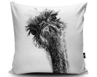 Ostrich Cushion, Ostrich Pillow, Ostrich Bedding, Ostrich Cushion Cover, Ostrich Illustration, Ostrich Home Decor, Vegan Suede Cushion