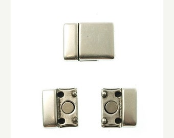 On Sale NOW 25%OFF Smooth Rounded Magnetic Clasp For Leather Cord 5-15mm  - Antique Silver - C1098 - Qty 1