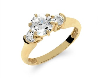 14k solid gold cubic zirconia engagement ring, promise ring, cubic zirconia ring