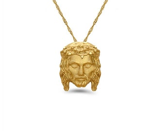 14k solid gold jesus head pendant with gold chain. religious pendant