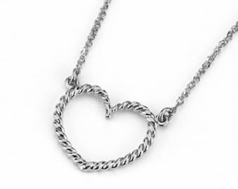 "Sterling Silver 18"" Heart Necklace."