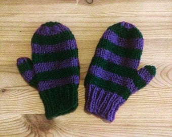Purple and Green Striped mittens