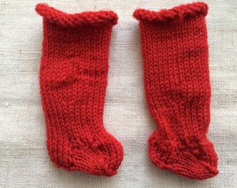 Old Red Wool Doll Socks