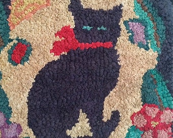 Antique Hooked Rug with Cat