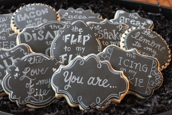 You are my, Valentines Day Cookies, Valentine's personalized cookies chalkboard valentines cookies, custom cookies, valentine's day favors,