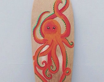 Hand Painted Octopus Longboard