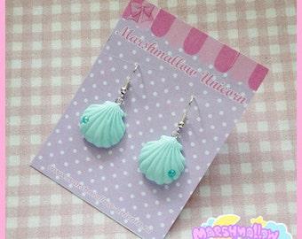 Mermaid earrings pastel colors cute and kawaii fairy kei lolita style