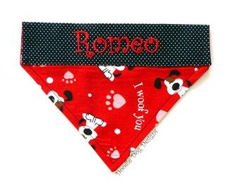 """Personalized Dog Bandana / Over the Collar Dog Bandana / Pet Bandana / Valentine Dog Bandana / Dog Scarf / """"I Woof You"""""""