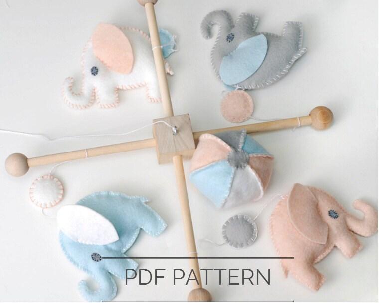 Diy baby elephant mobile felt pattern nursery decor sewing for Diy baby mobile felt
