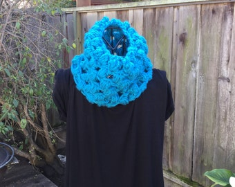 Blue Crocheted Cowl