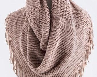 Multi Pattern Fringe Knit Infinity Scarf