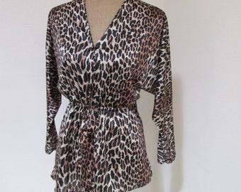 Vintage 1950s Vanity Fair Leopard Blouse, 1950s 50s Blouse Vintage Blouse Top 50s Leopard Vanity Fair Leopard
