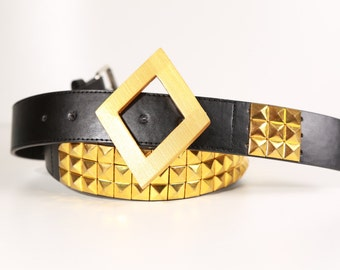 Harley Cosplay Belt with Buckle : Bright Gold Large 36-40 inches